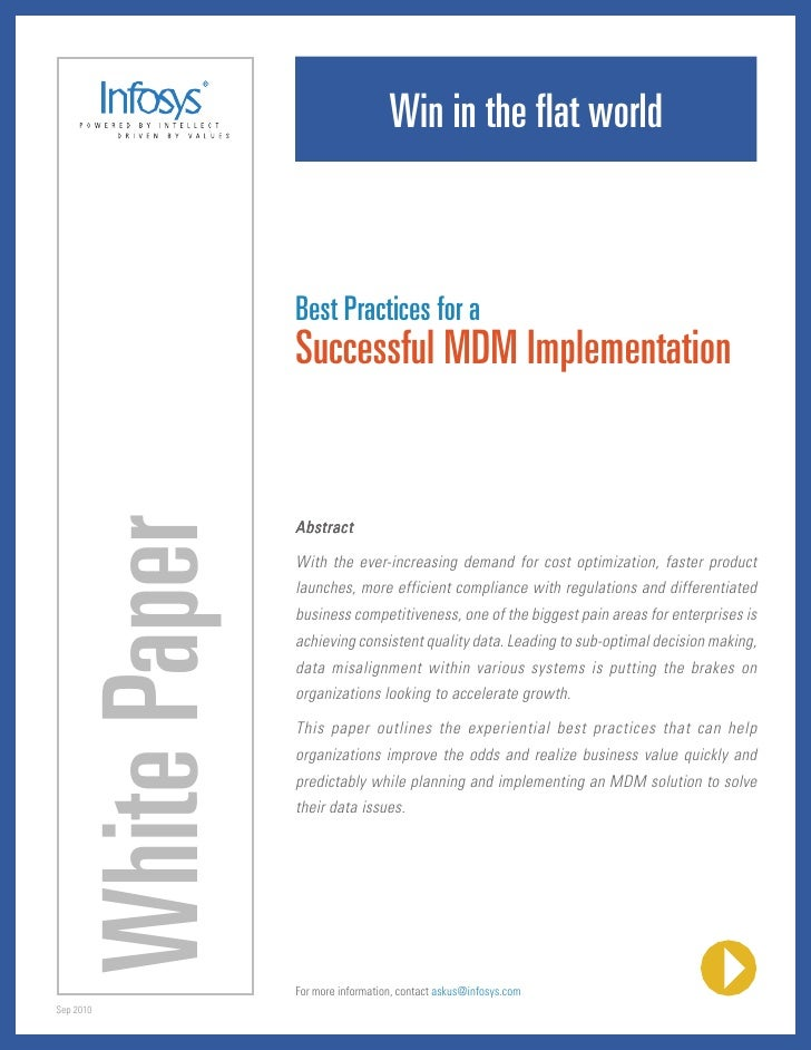 Win in the flat world                         Best Practices for a                         Successful MDM Implementation  ...