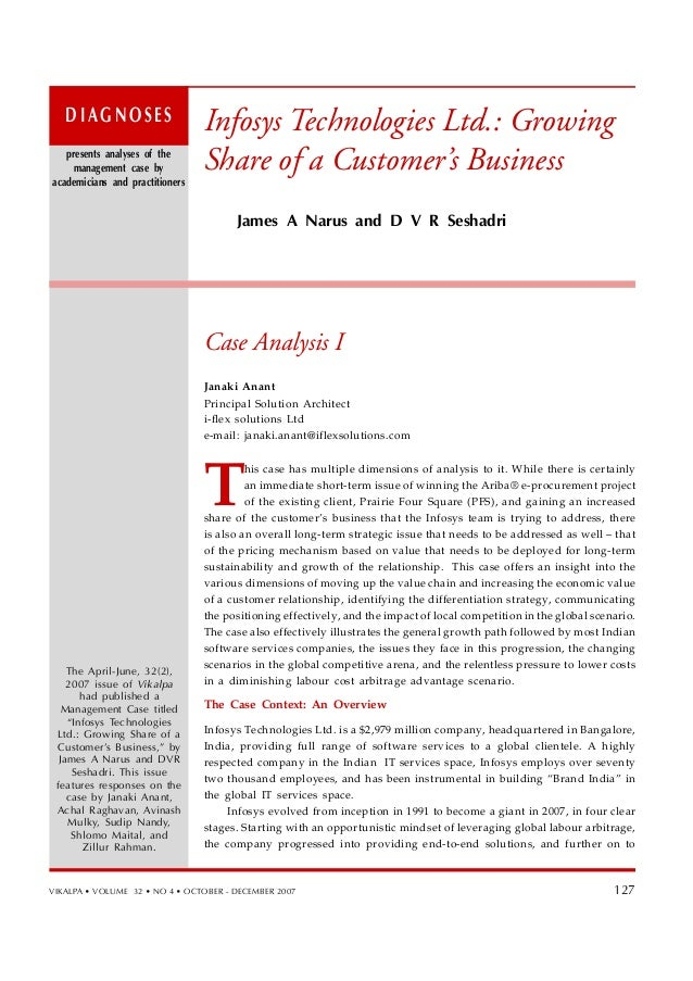 case study infosys Infosys case study: how human resource management links people with the strategic needs of the business gb520: strategic human resource management.