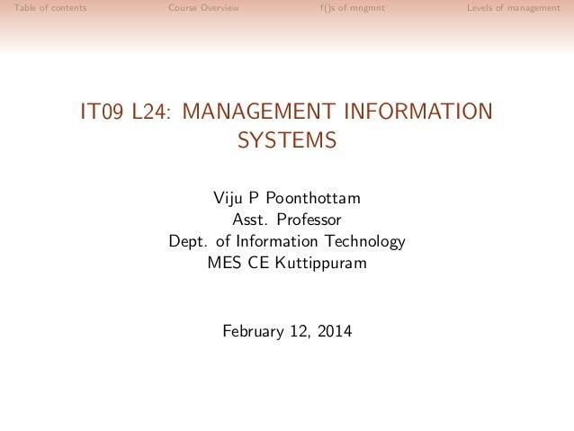 IT09 L24: MANAGEMENT INFORMATION SYSTEMS- Module 1