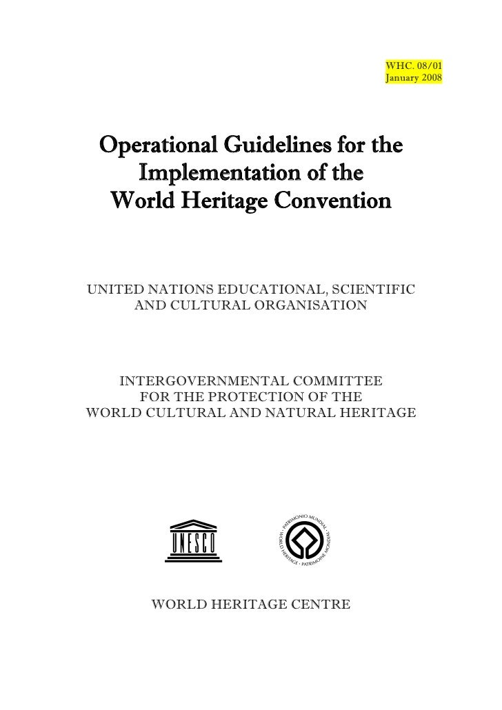 WHC. 08/01                                  January 2008 Operational Guidelines for the    Implementation of the  World He...