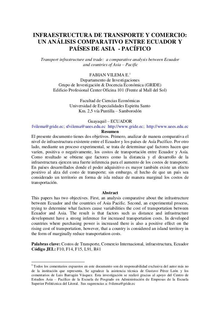 INFRAESTRUCTURA DE TRANSPORTE Y COMERCIO:      UN ANÁLISIS COMPARATIVO ENTRE ECUADOR Y               PAÍSES DE ASIA - PACÍ...