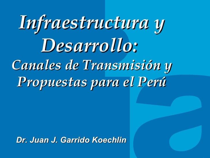 TITULO DEL TEMA Infraestructura y Desarrollo:  Canales de Transmisi ón y Propuestas para el Perú Dr. Juan J. Garrido Koech...