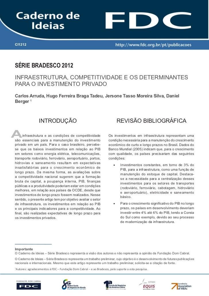 Infraestrutura, competitividade e os determinantes para o investimento privado