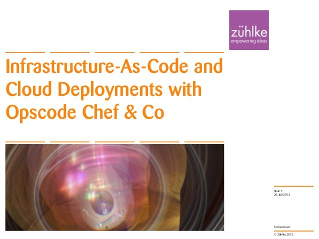 © Zühlke 2012 Torben Knerr Infrastructure-As-Code and Cloud Deployments with Opscode Chef & Co 20. Juli 2012 Slide 1