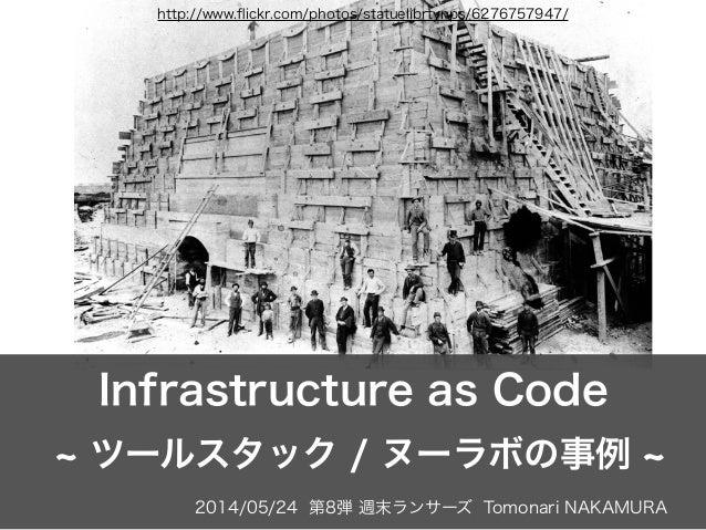 2014/05/24 第8弾 週末ランサーズ Tomonari NAKAMURA Infrastructure as Code ツールスタック / ヌーラボの事例 http://www.flickr.com/photos/statuelibrty...