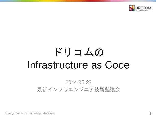 Copyright Drecom Co., Ltd. All Rights Reserved. 1 ドリコムの Infrastructure as Code 2014.05.23 最新インフラエンジニア技術勉強会
