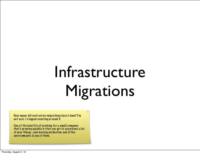 Infrastructure Migrations How many infrastructure migrations have I done? I'm not sure. I stopped counting around 5. One o...