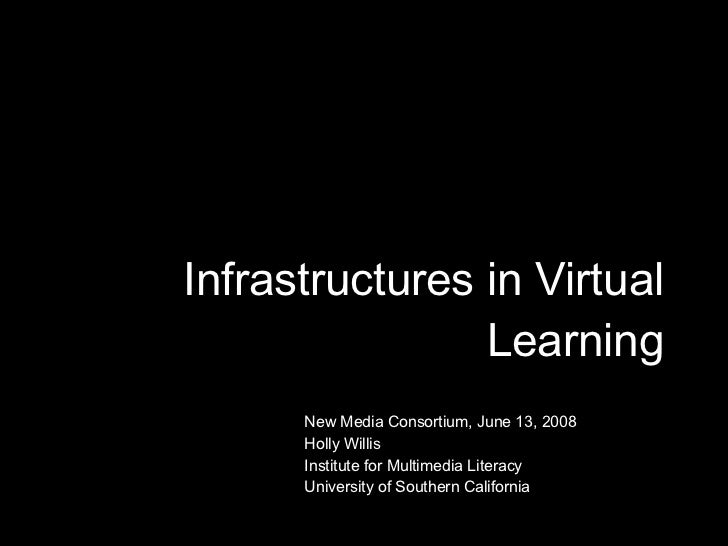 Infrastructures in Virtual Learning New Media Consortium, June 13, 2008 Holly Willis Institute for Multimedia Literacy Uni...