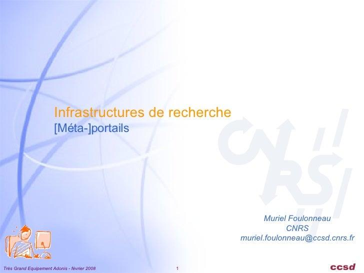 Infrastructures de recherche [Méta-]portails Muriel Foulonneau CNRS [email_address]