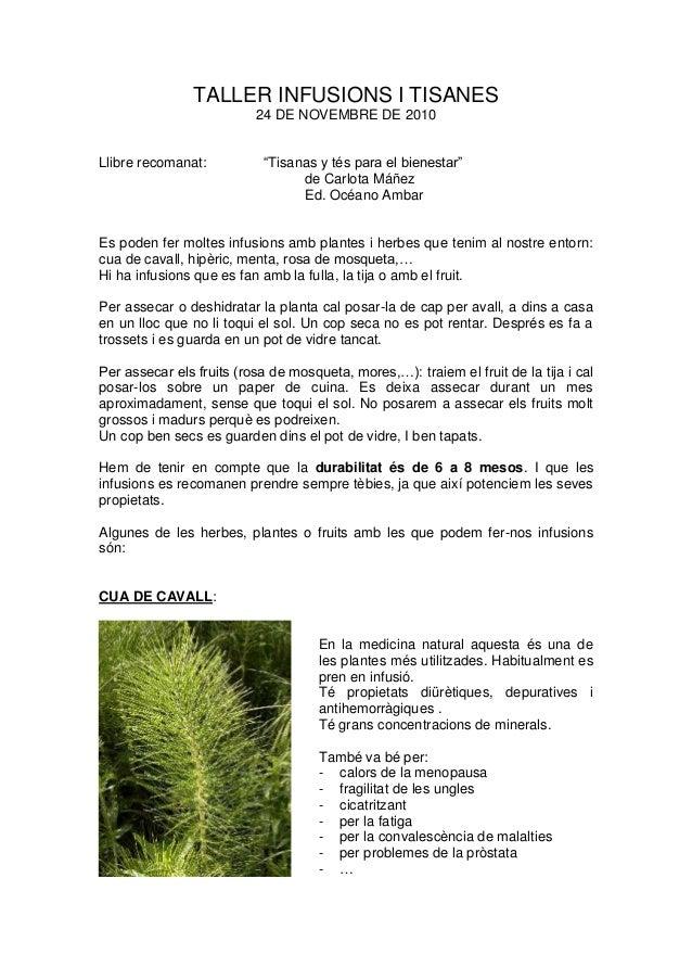 """TALLER INFUSIONS I TISANES 24 DE NOVEMBRE DE 2010 Llibre recomanat: """"Tisanas y tés para el bienestar"""" de Carlota Máñez Ed...."""