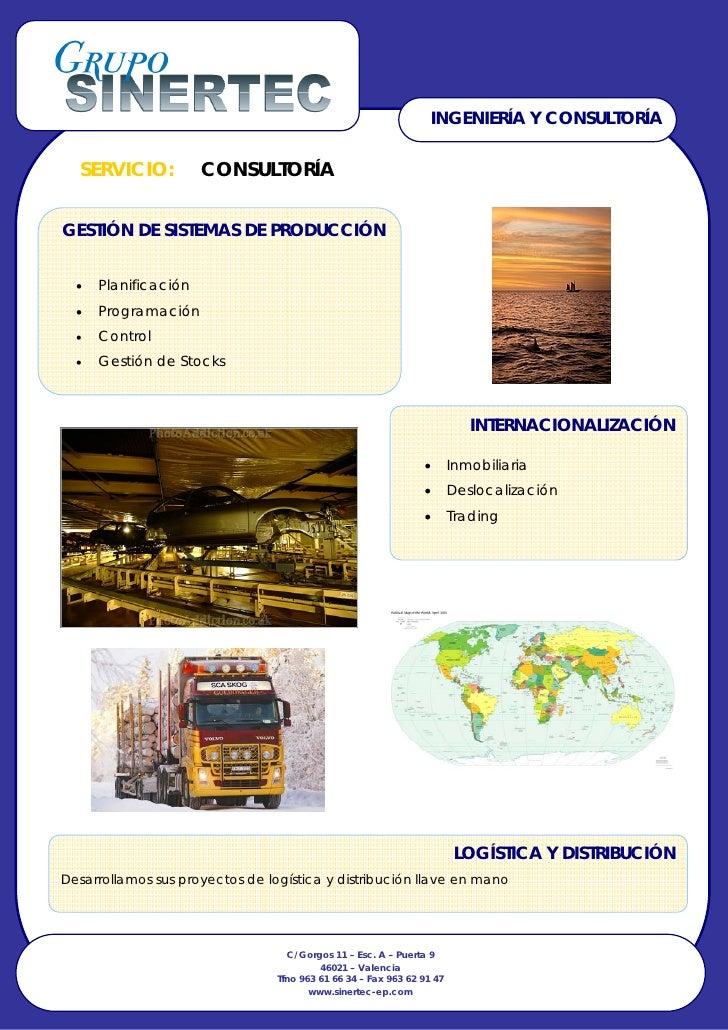 INGENIERÍA Y CONSULTORÍA     SERVICIO:           CONSULTORÍA   GESTIÓN DE SISTEMAS DE PRODUCCIÓN     •   Planificación   •...