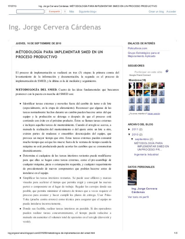 17/07/13 Ing. Jorge Cervera Cárdenas: MÉTODOLOGÍA PARA IMPLEMENTAR SMED EN UN PROCESO PRODUCTIVO ingjorgecervera.blogspot....