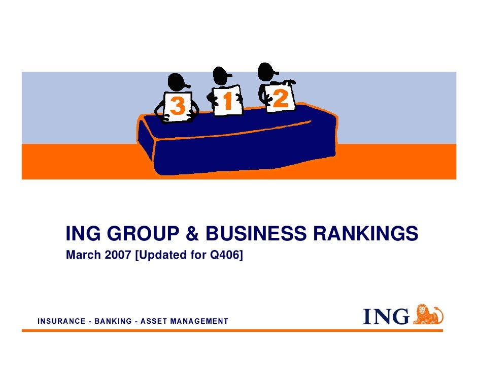ING GROUP & BUSINESS RANKINGS March 2007 [Updated for Q406]