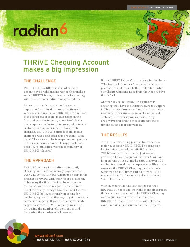 CASE STUDY / ING DIRECT CANADATHRiVE Chequing Accountmakes a big impression                                               ...