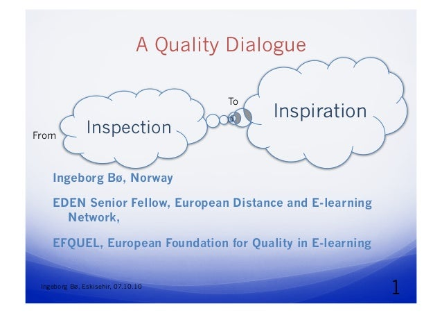 A Quality Dialogue. From Inspection to Inspiration