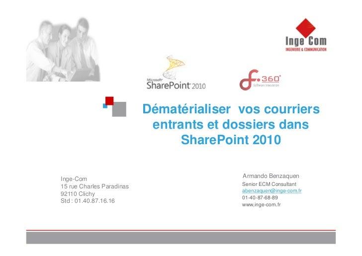 Dématérialiser vos courriers                            entrants et dossiers dans                                SharePoin...