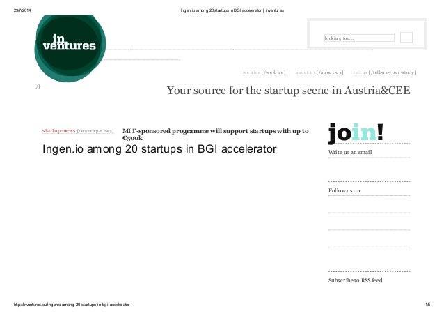 Ingen.io among 21 startups in BGI accelerator