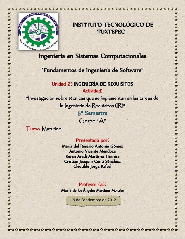 """INSTITUTO TECNOLÓGICO DE                               TUXTEPEC      Ingeniería en Sistemas Computacionales       """"Fundame..."""