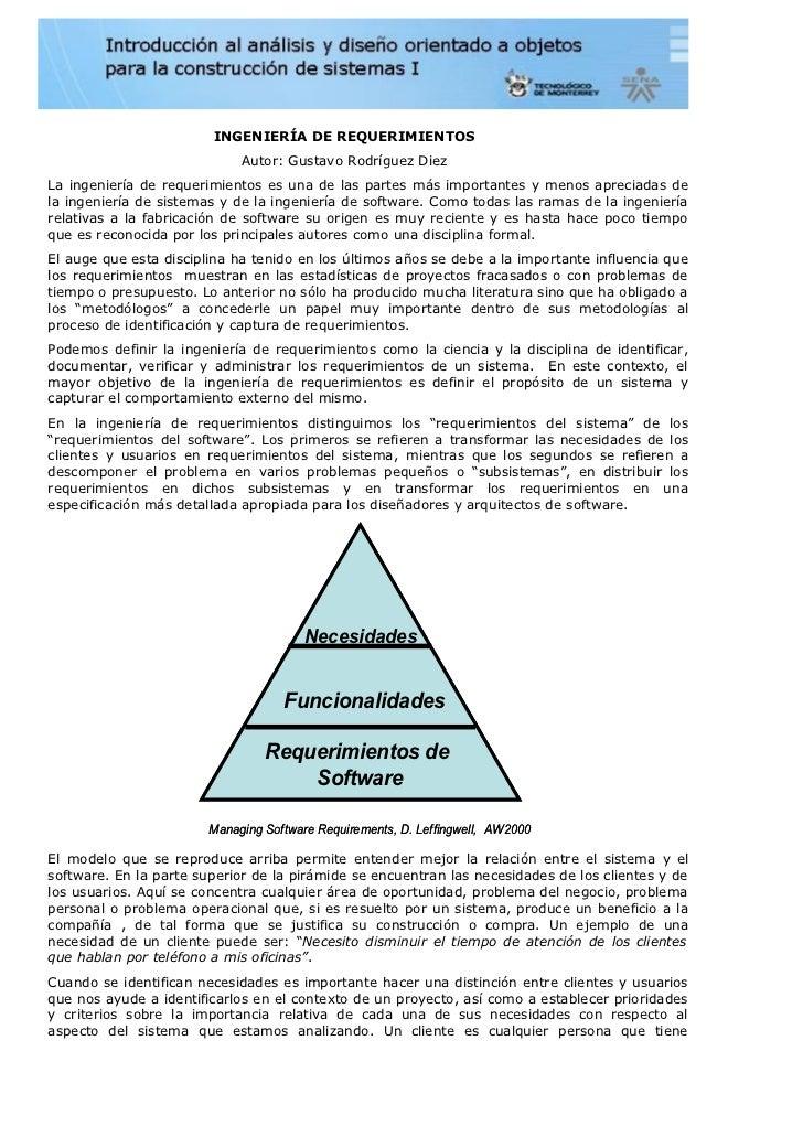 INGENIERÍA DE REQUERIMIENTOS                             Autor: Gustavo Rodríguez DiezLa ingeniería de requerimientos es u...