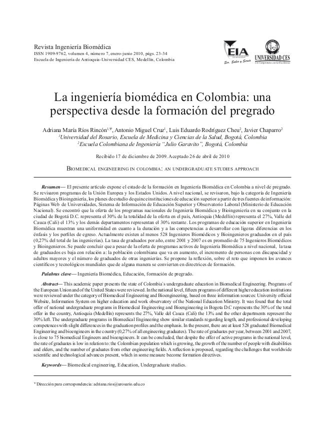 Ríos A.M. et al. Ingeniería biomédica en Colombia vista desde el pregrado 23  Revista Ingeniería Biomédica  ISSN 1909-9762...