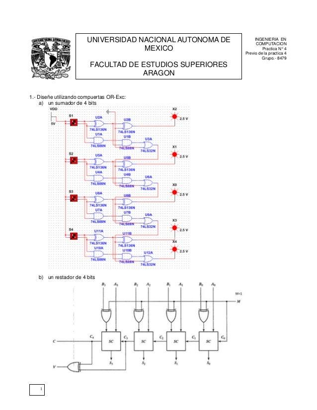 1INGENIERIA ENCOMPUTACIONPractica N° 4Previo de la practica 4Grupo.- 84791.- Diseñe utilizando compuertas OR-Exc:a) un sum...