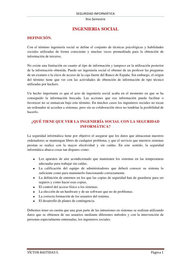 SEGURIDAD INFORMÁTICA                                         9no Semestre                               INGENIERIA SOCIAL...