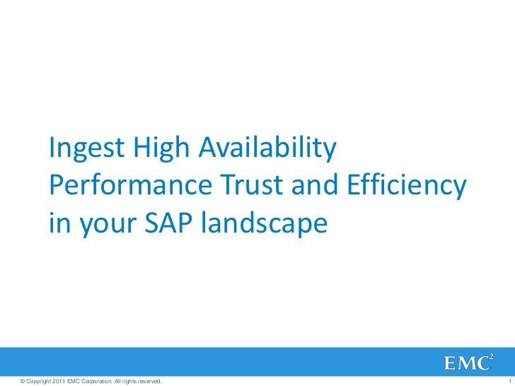 Ingest High Availability          Performance Trust and Efficiency          in your SAP landscape© Copyright 2011 EMC Corp...