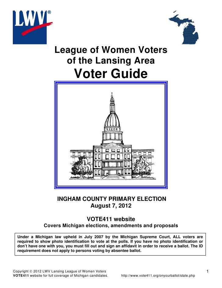 League of Women Voters                          of the Lansing Area                                    Voter Guide        ...
