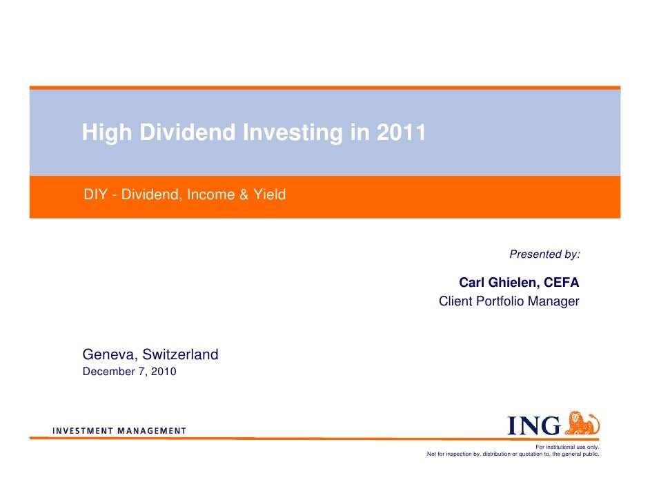 High Dividend Investing in 2011DIY - Dividend, Income & Yield                                                             ...