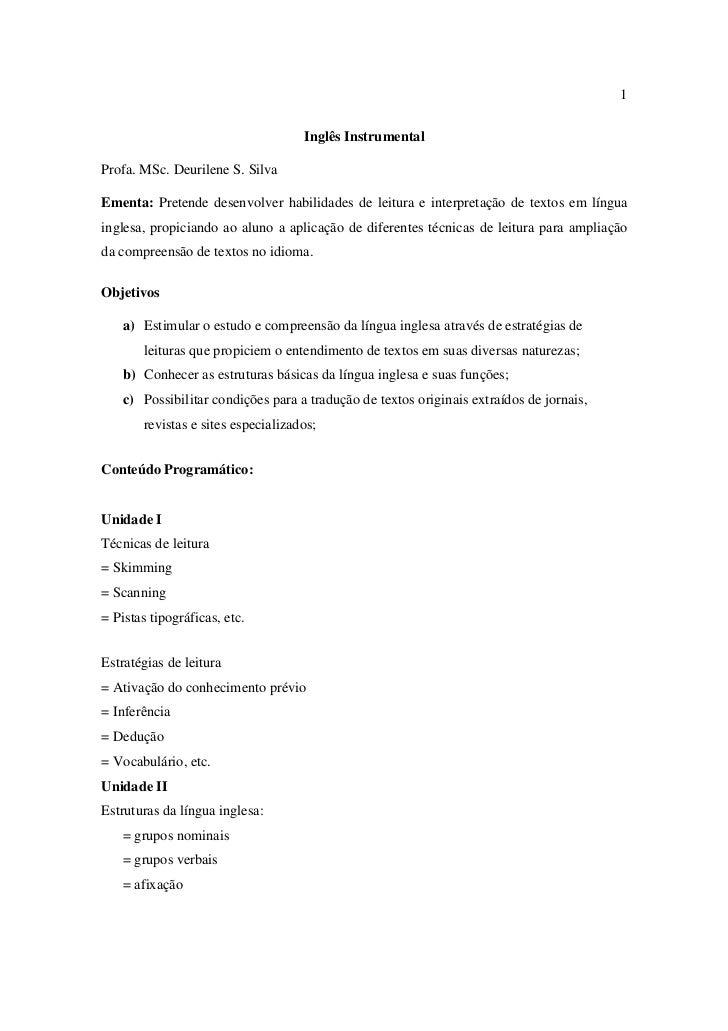 Ingles Instrumental Apostila Para Estudo