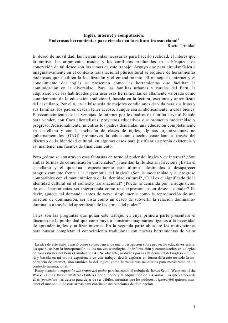 Inglés, internet y computación:           Poderosas herramientas para circular en la cultura transnacional1               ...