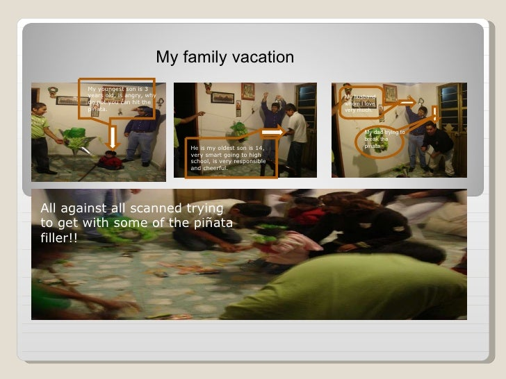My family vacation My youngest son is 3 years old, is angry, why do not you can hit the piñata. He is my oldest son is 14,...