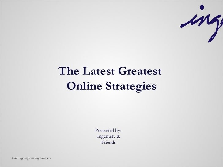 The Latest Greatest                                         Online Strategies                                             ...