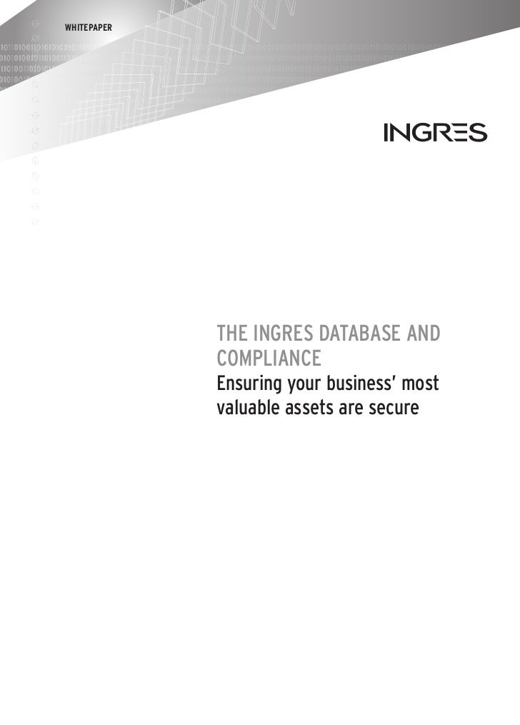 Ingres database and compliance