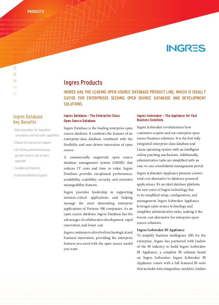PRODUCTS                                          Ingres Products                                          Ingres has the ...