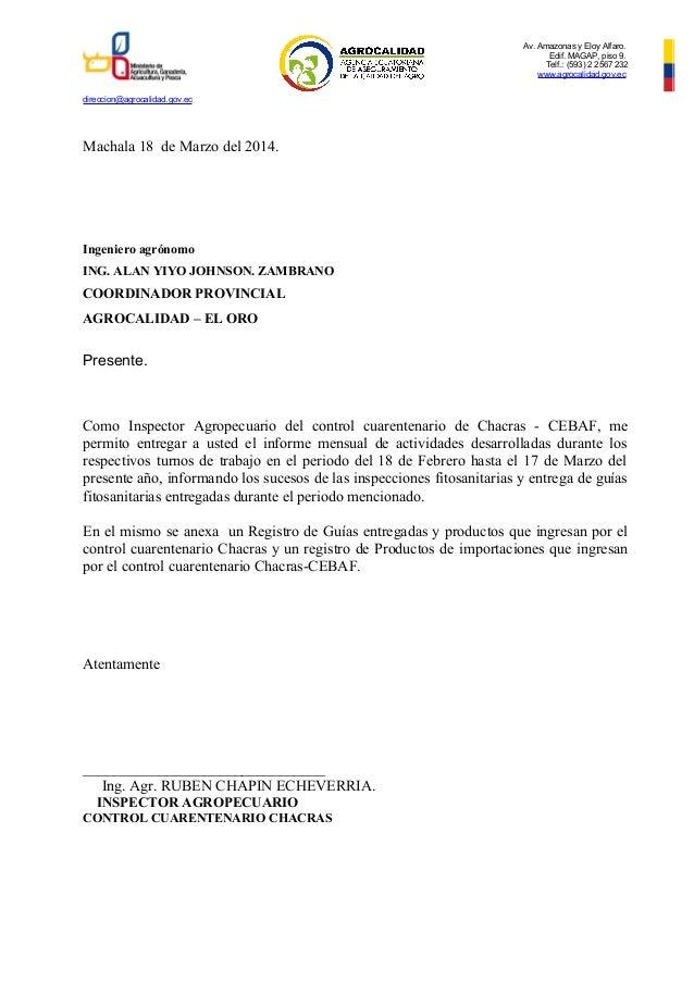 Av. Amazonas y Eloy Alfaro. Edif. MAGAP, piso 9. Telf.: (593) 2 2567 232 www.agrocalidad.gov.ec direccion@agrocalidad.gov....