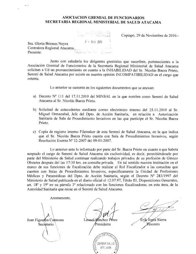 """ASOCIACION GREMIAL DE FUNCIONARIOS SECRETARIA REGIONAL MINISTERIAL DE SALUD ATACAMA  ' """"5   Copiapé,  29 de Noviembre de 2..."""