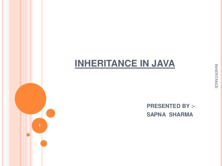 INHERITANCE IN JAVA                                   INHERITANCE                 PRESENTED BY :-                 SAPNA SH...