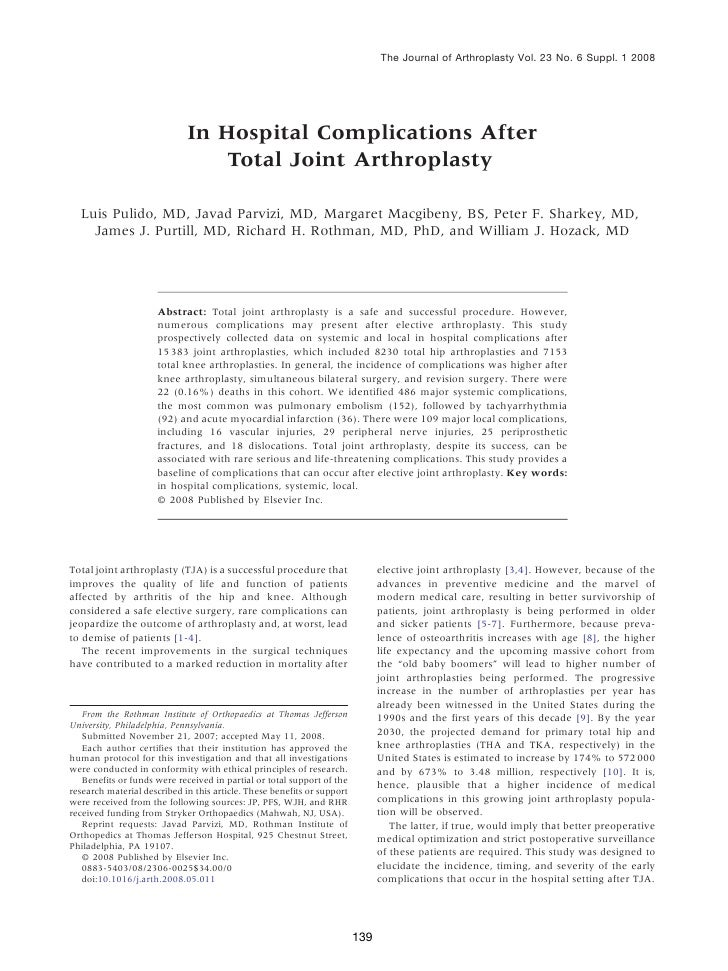 In hospital complications after total joint arthroplasty