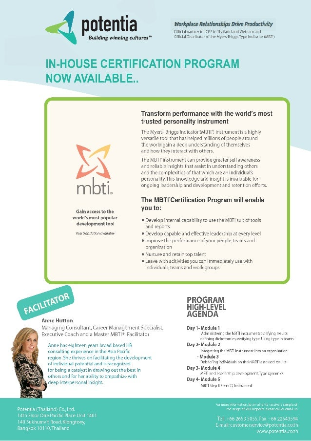 In-House MBTI® Certification Program in Thailand, Now available!!