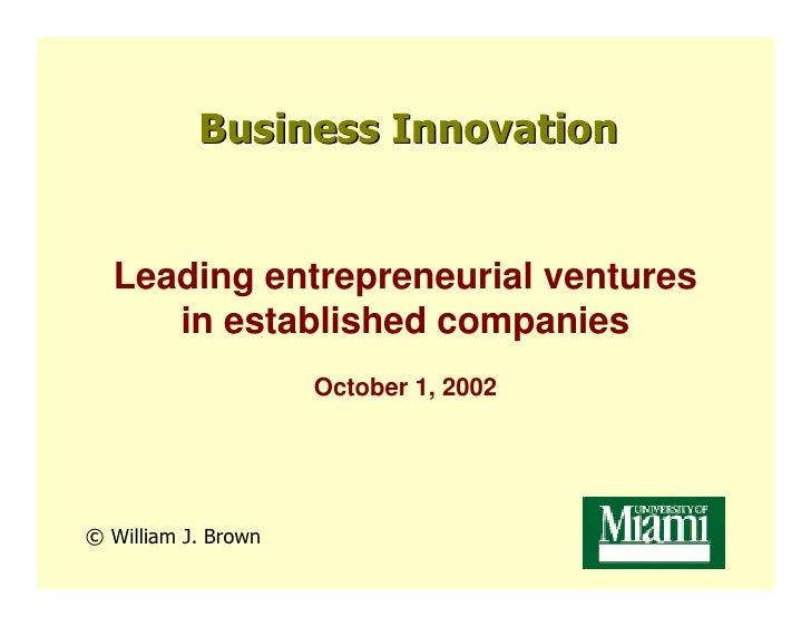 In-House Entrepreneurship