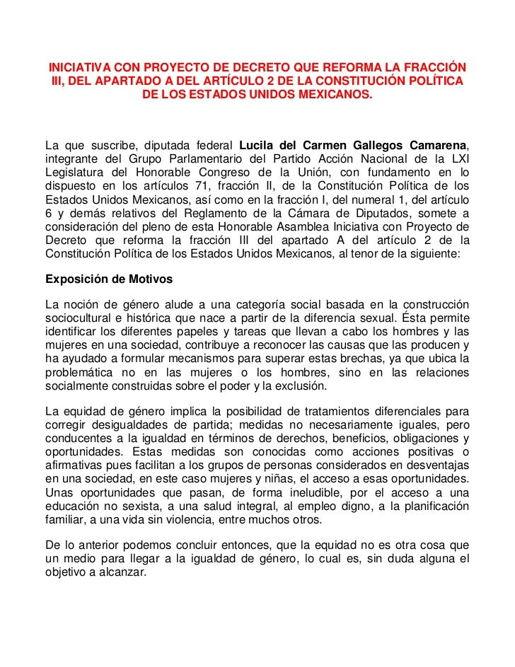 INICIATIVA CON PROYECTO DE DECRETO QUE REFORMA LA FRACCIÓN III, DEL APARTADO A DEL ARTÍCULO 2 DE LA CONSTITUCIÓN POLÍTICA ...