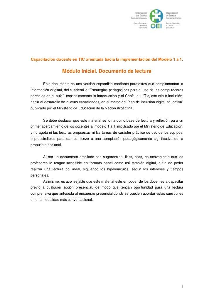 Capacitación docente en TIC orientada hacia la implementación del Modelo 1 a 1.                      Módulo Inicial. Docum...
