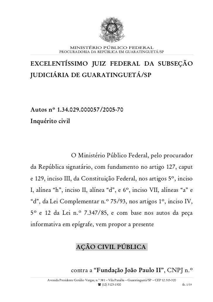 Ação Civil Pública MPF/SP x Canção Nova