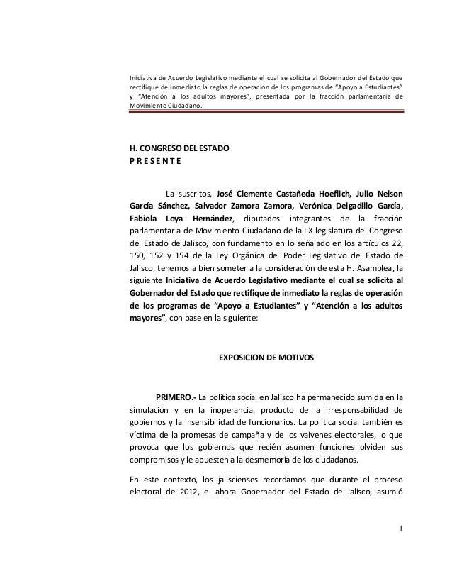 Iniciativa acuerdo para el ejecutivo sobre la operación de programas sociales