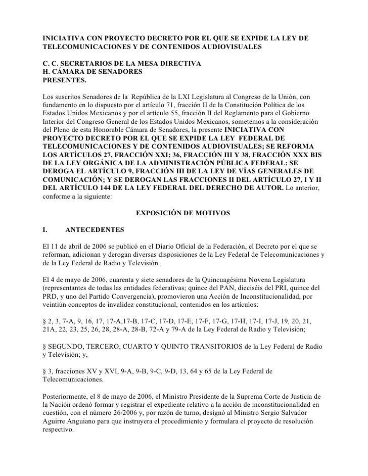 INICIATIVA CON PROYECTO DECRETO POR EL QUE SE EXPIDE LA LEY DE TELECOMUNICACIONES Y DE CONTENIDOS AUDIOVISUALES  C. C. SEC...