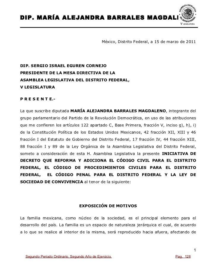 DIP. MARÍA ALEJANDRA BARRALES MAGDALENO                                          México, Distrito Federal, a 15 de marzo d...