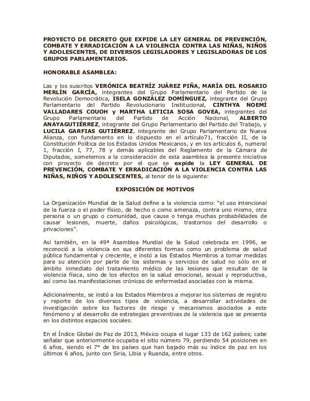 PROYECTO DE DECRETO QUE EXPIDE LA LEY GENERAL DE PREVENCIÓN, COMBATE Y ERRADICACIÓN A LA VIOLENCIA CONTRA LAS NIÑAS, NIÑOS...