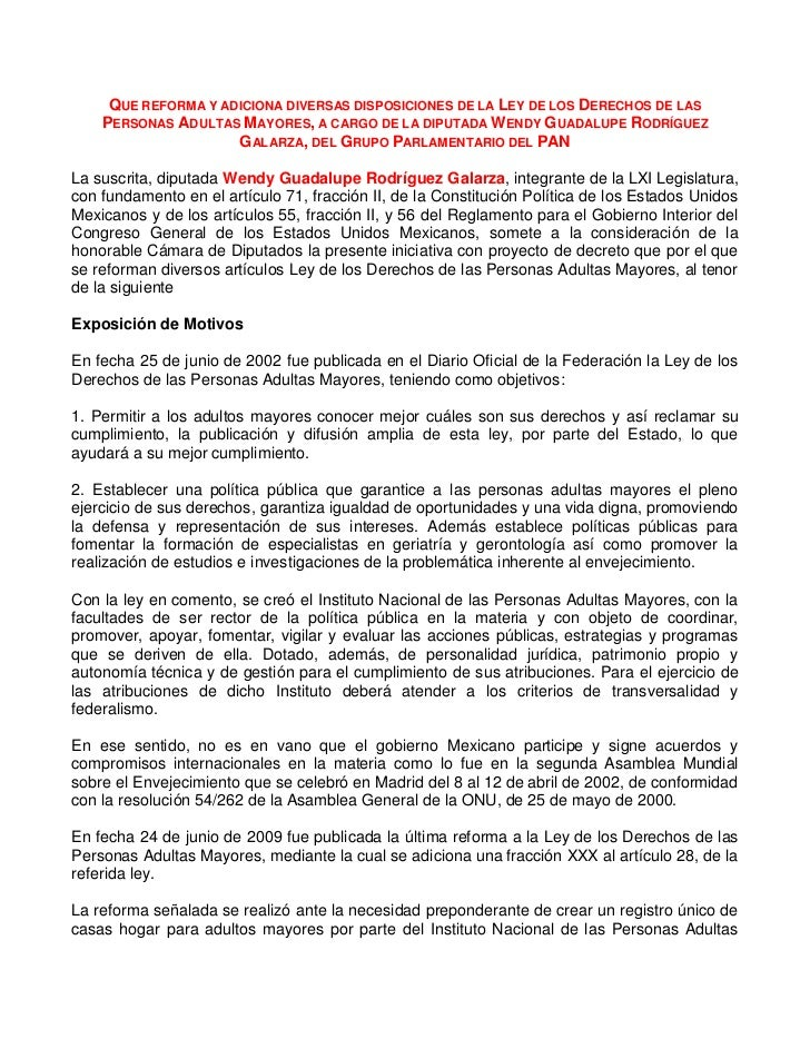 QUE REFORMA Y ADICIONA DIVERSAS DISPOSICIONES DE LA LEY DE LOS DERECHOS DE LAS    PERSONAS ADULTAS MAYORES, A CARGO DE LA ...
