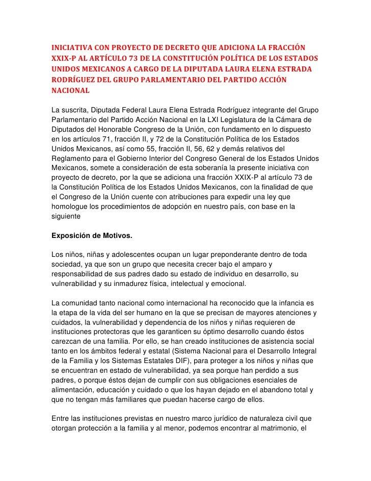 INICIATIVA CON PROYECTO DE DECRETO QUE ADICIONA LA FRACCIÓN XXIX-P AL ARTÍCULO 73 DE LA CONSTITUCIÓN POLÍTICA DE LOS ESTAD...